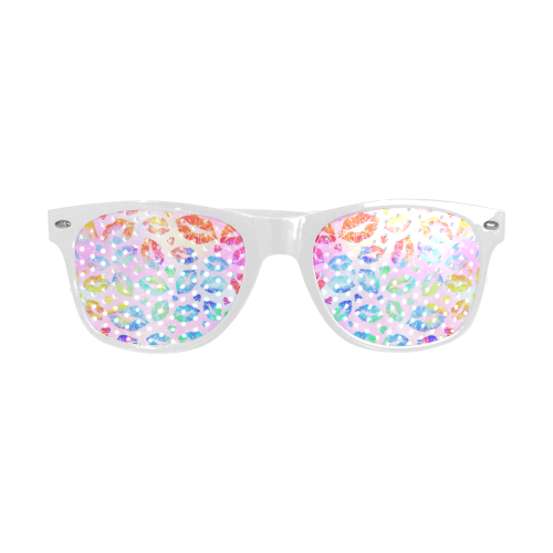 Women Sexy Hot Lips Comic - Colorful Pop Art 2 Custom Sunglasses (Perforated Lenses)