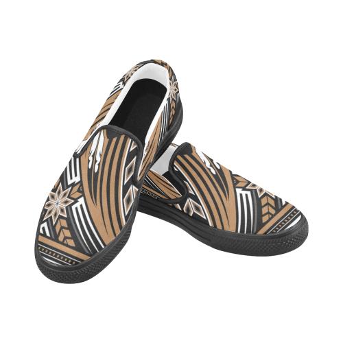 Wind Spirit Brown Men's Slip-on Canvas Shoes (Model 019)