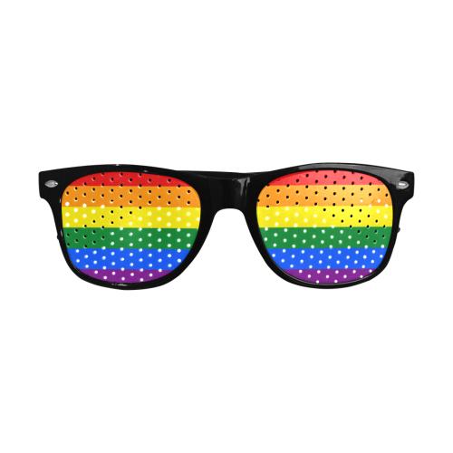 Gay Pride Rainbow Flag Stripes Custom Sunglasses (Perforated Lenses)