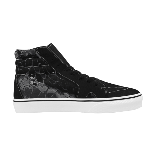 night dragon reptile scales pattern camouflage in dark gray and black Men's High Top Skateboarding Shoes (Model E001-1)