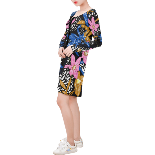 FANCY FLOWERS Long Sleeve String Tie Dress (Model D54)