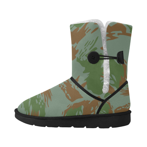 navy camouflage Design blocks / Shoes green Unisex Single Button Snow Boots (Model 051)