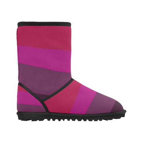 Design boots : pink wild Lines, ethno Custom High Top Kid's Snow Boots (Model 050)