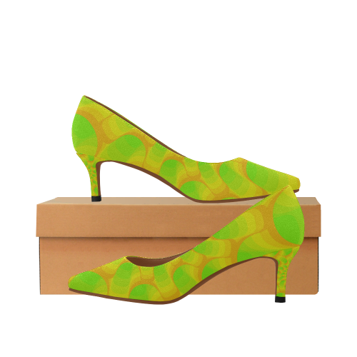 31c70248fd7 Green yellow spiral Women's Pointed Toe Low Heel Pumps (Model 053)