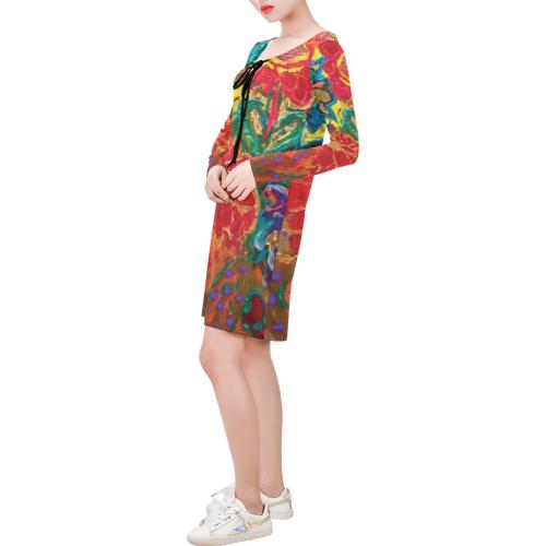 2928002-HABEFECO-7QQ1 Long Sleeve String Tie Dress (Model D54)