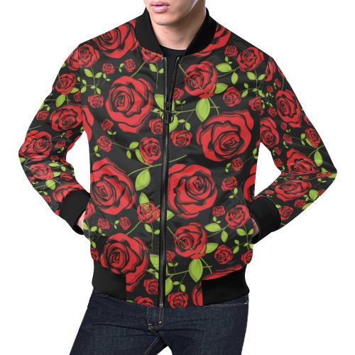 17d2bde80 Red Roses on Black All Over Print Bomber Jacket for Men/Large Size (Model  H19)