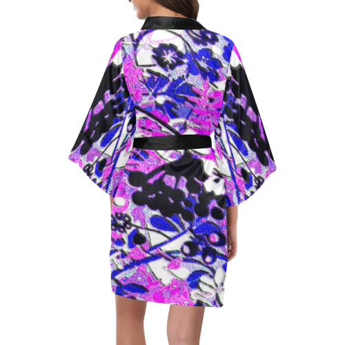 floral abstract in shades of purple Kimono Robe