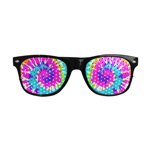 Power Spiral Batik pink blue purple orange Custom Sunglasses (Perforated Lenses)
