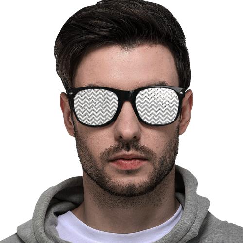 Chevron ZigZag black & white transparent Custom Sunglasses (Perforated Lenses)