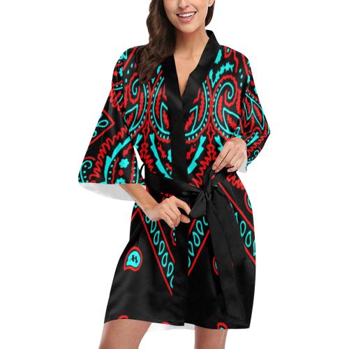 blue and red bandana version 4 Kimono Robe