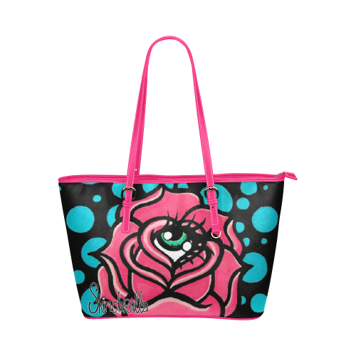 Rose Eye by Skinderella Leather Tote Bag/Small (Model 1651)
