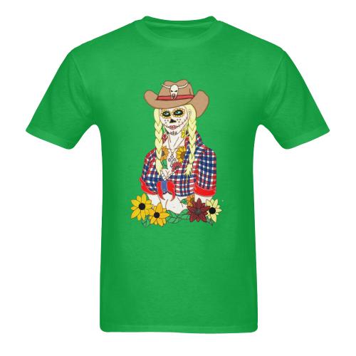 Cowgirl Sugar Skull Green Men's Heavy Cotton T-Shirt - 5000