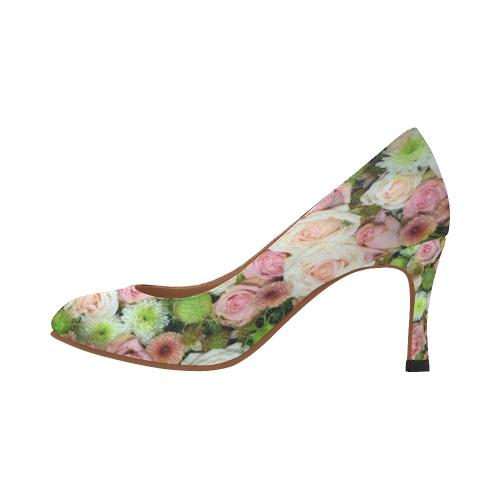Pastel Pink Roses Women's High Heels (Model 048)