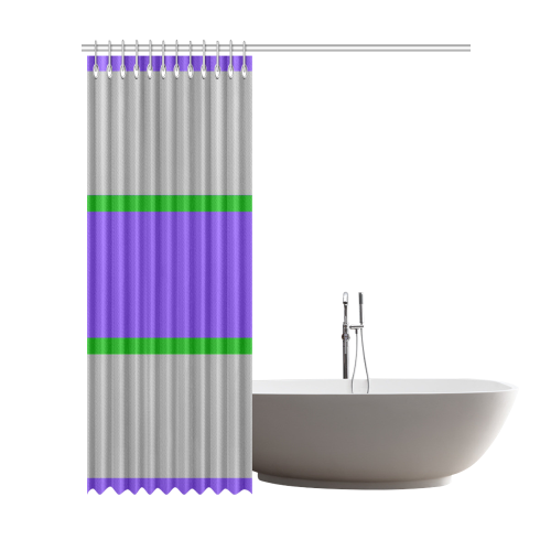 "Purple, Gray and Green Stripes Shower Curtain 72""x84"""