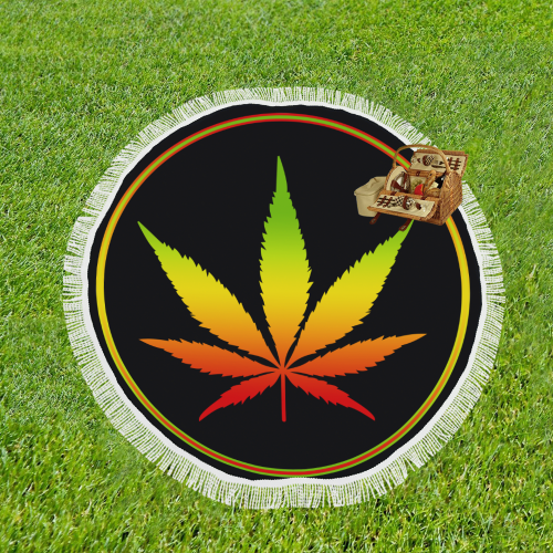 "Rastafari Marijuana Leaf Button Green Yellow Red Circular Beach Shawl 59""x 59"""