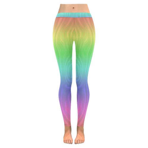 96e735ca0e47 Groovy Pastel Rainbow New Low Rise Leggings (Flatlock Stitch) (Model L07) |  ID: D2815948
