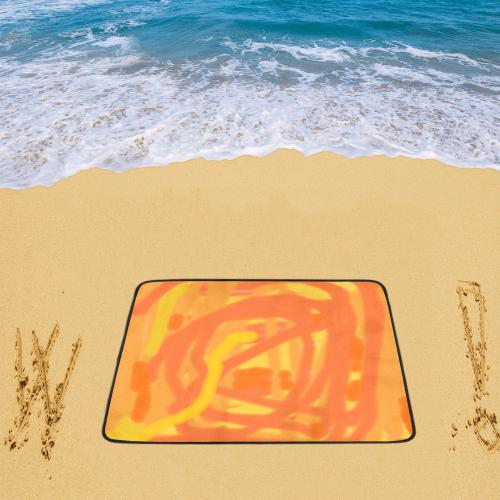 "Orange  and Yellow Scribbles Beach Mat 78""x 60"""