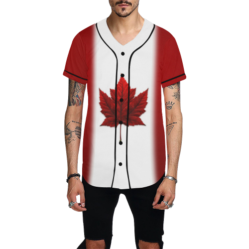 Canada Flag Baseball Shirts All Over Print Baseball Jersey for Men (Model T50)