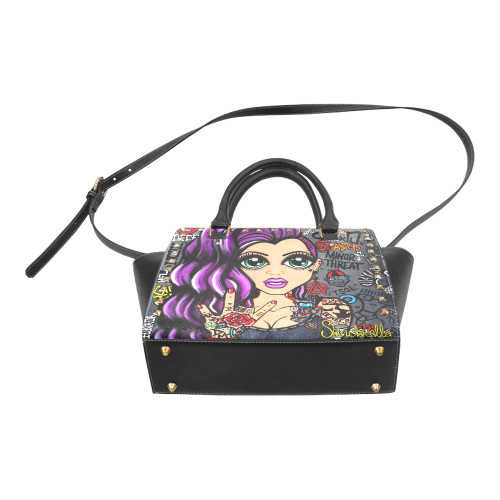 For the Love of Punk, by Skinderella Rivet Shoulder Handbag (Model 1645)