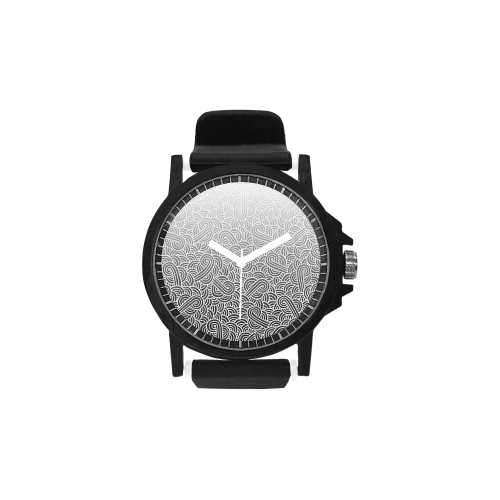 7eb9059b713010 Ombré black and white swirls doodles Unisex Silicone Strap Plastic Watch  (Model 316) | ID: D2859779