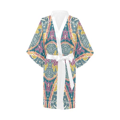 Hippie Mandala Pattern - Bohemian Chic Style 9 Kimono Robe