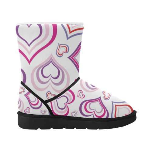 Design love boots : Pink on white Unisex Single Button Snow Boots (Model 051)