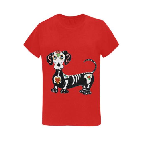 Dachshund Sugar Skull Red Women's Heavy Cotton Short Sleeve T-Shirt - 5000L