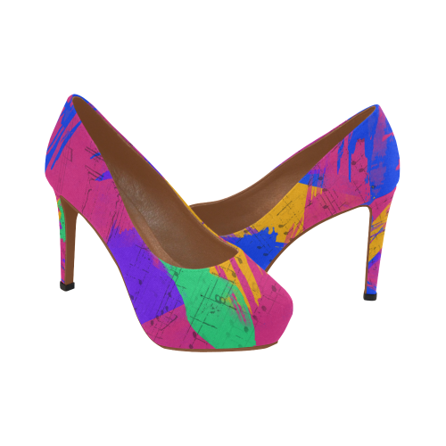 Groovy Paint Brush Strokes with Music Notes Women's High Heels (Model 044)