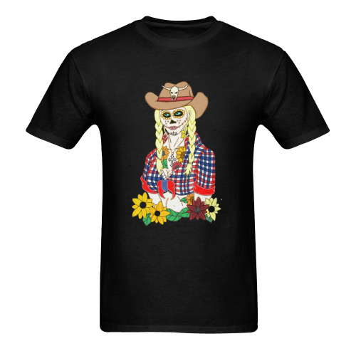 Cowgirl Sugar Skull Black Men's Heavy Cotton T-Shirt - 5000 (Plus-size)