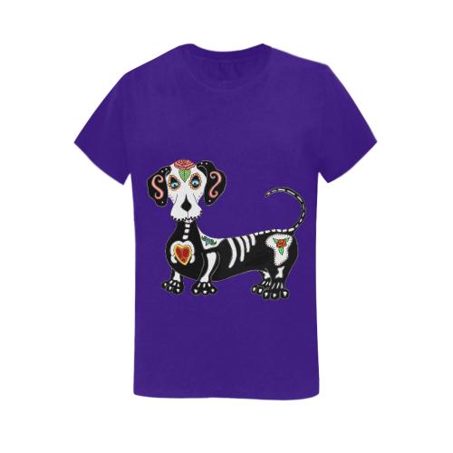 Dachshund Sugar Skull Purple Women's Heavy Cotton Short Sleeve T-Shirt - 5000L