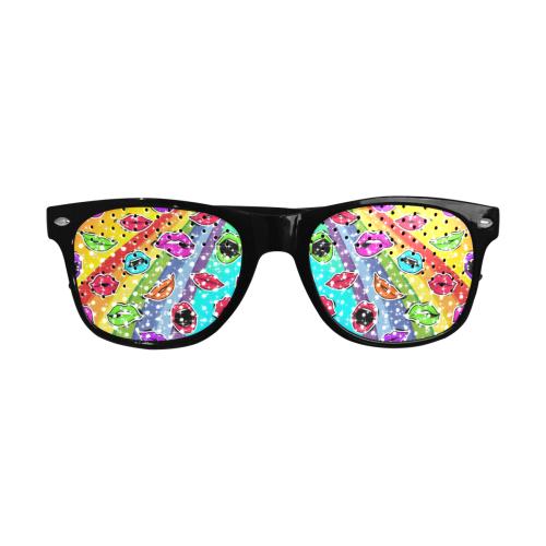 Women Sexy Hot Lips Comic - Rainbow Pop Art 1 Custom Sunglasses (Perforated Lenses)
