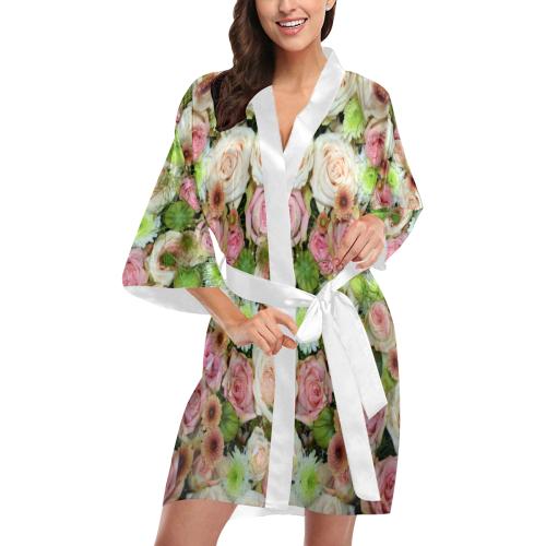 Pastel Pink Roses Kimono Robe