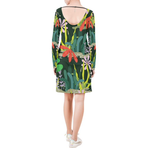 Tropical Forest Long Sleeve String Tie Dress (Model D54)