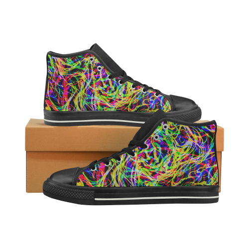 colorful abstract pattern Men's Classic High Top Canvas Shoes (Model 017)