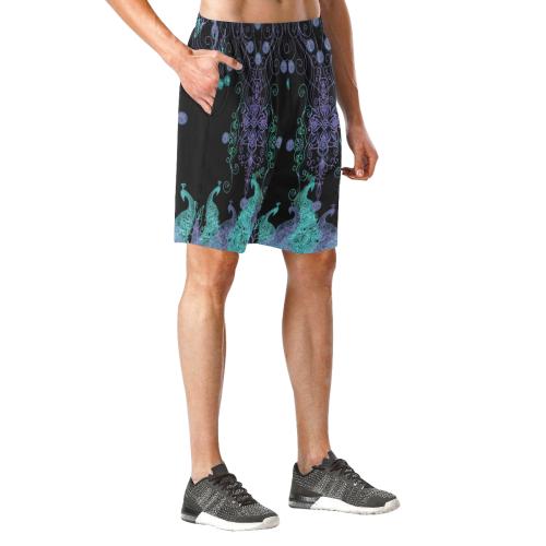 peacocqs parade 6 Men's All Over Print Elastic Beach Shorts (Model L20)
