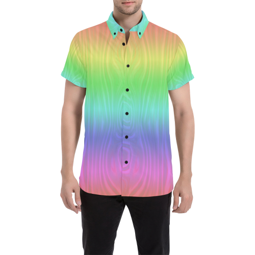 40dbb19c1 Groovy Pastel Rainbow Men's All Over Print Short Sleeve Shirt (Model T53) |  ID: D2815954