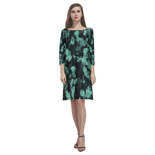 Black and Teal Green Abstract 0244 Rhea Loose Round Neck Dress(Model D22)