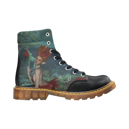 Beautiful mermaid and fantasy fish Apache Round Toe Men's Winter Boots (Model 1402)
