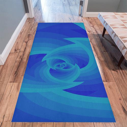 Royal blue wave Area Rug 10'x3'3''