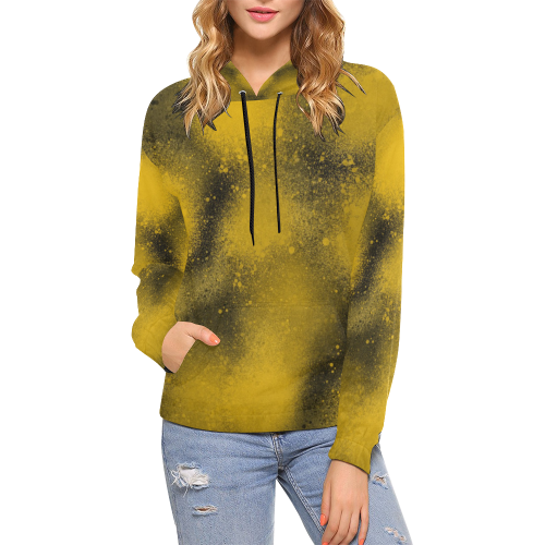 Black and Yellow Paintballs 3574 All Over Print Hoodie for Women (USA Size) (Model H13)