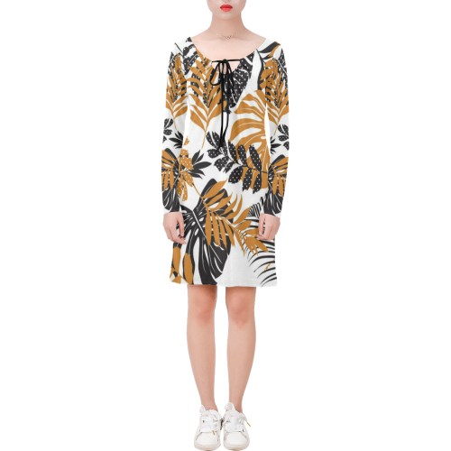 Monstera Leaves Tropical Leaves Long Sleeve String Tie Dress (Model D54)
