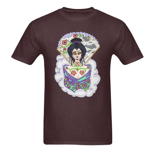 Geisha Sugar Skull Russet Men's Heavy Cotton T-Shirt - 5000 (Plus-size)