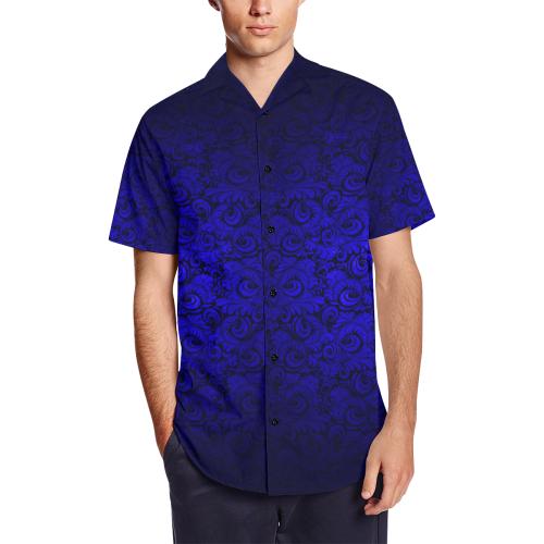 hot sale online reliable reputation buy best Vintage Gothic Royal Blue Vampire Metallic Leaf Print Satin Dress Shirt  Men's Short Sleeve Shirt with Lapel Collar (Model T54) | ID: D3145282