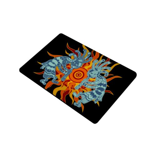 "Native American Kokopelli Musicans - Sun Border 1 Doormat 23.6""x15.7"""