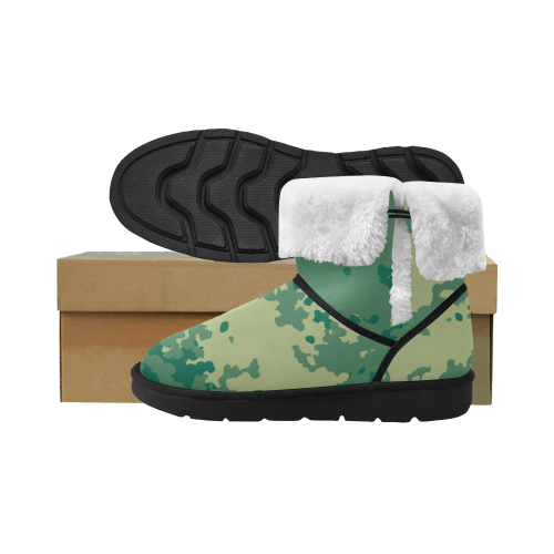 Green Camouflage Camu camu blocks Unisex Single Button Snow Boots (Model 051)