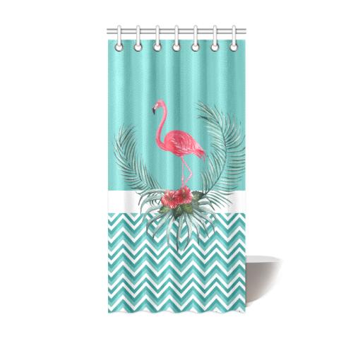 Retro Flamingo Chevron Shower Curtain 36x72