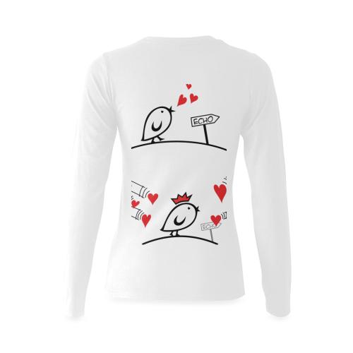 Comic Birds - Tweetlercools - LOVE ECHO 1 Sunny Women's T-shirt (long-sleeve) (Model T07)