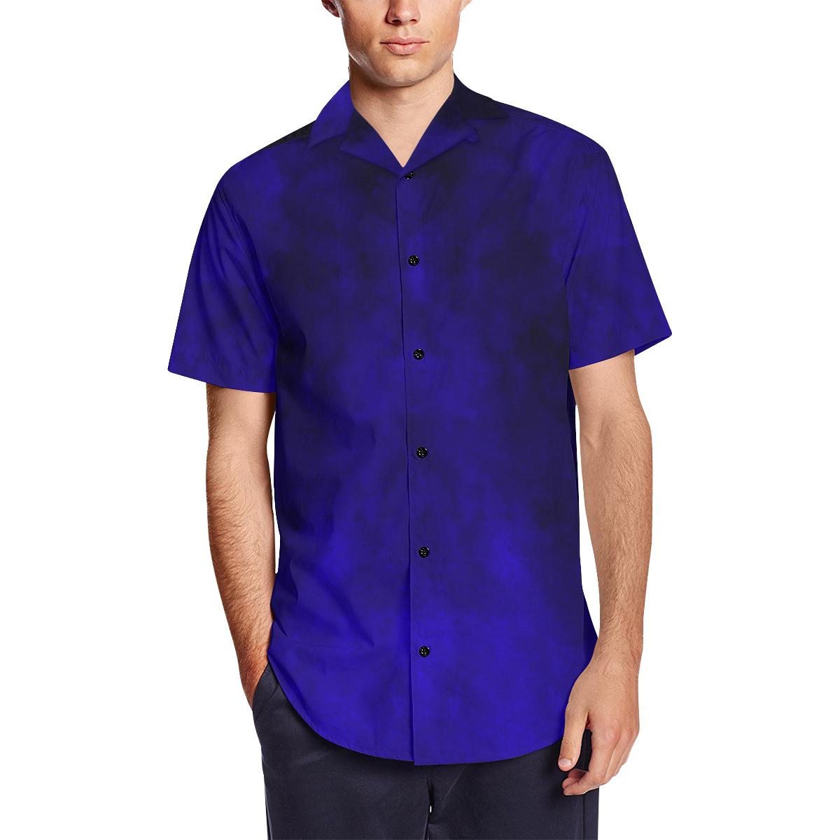 Midnight Blue Watercolor Silk Dress Shirt Mens Short Sleeve Shirt