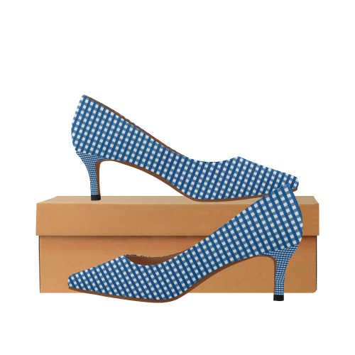 e672a8f57 Navy Blue Gingham Checked Pattern Women S Pointed Toe Low Heel Pumps