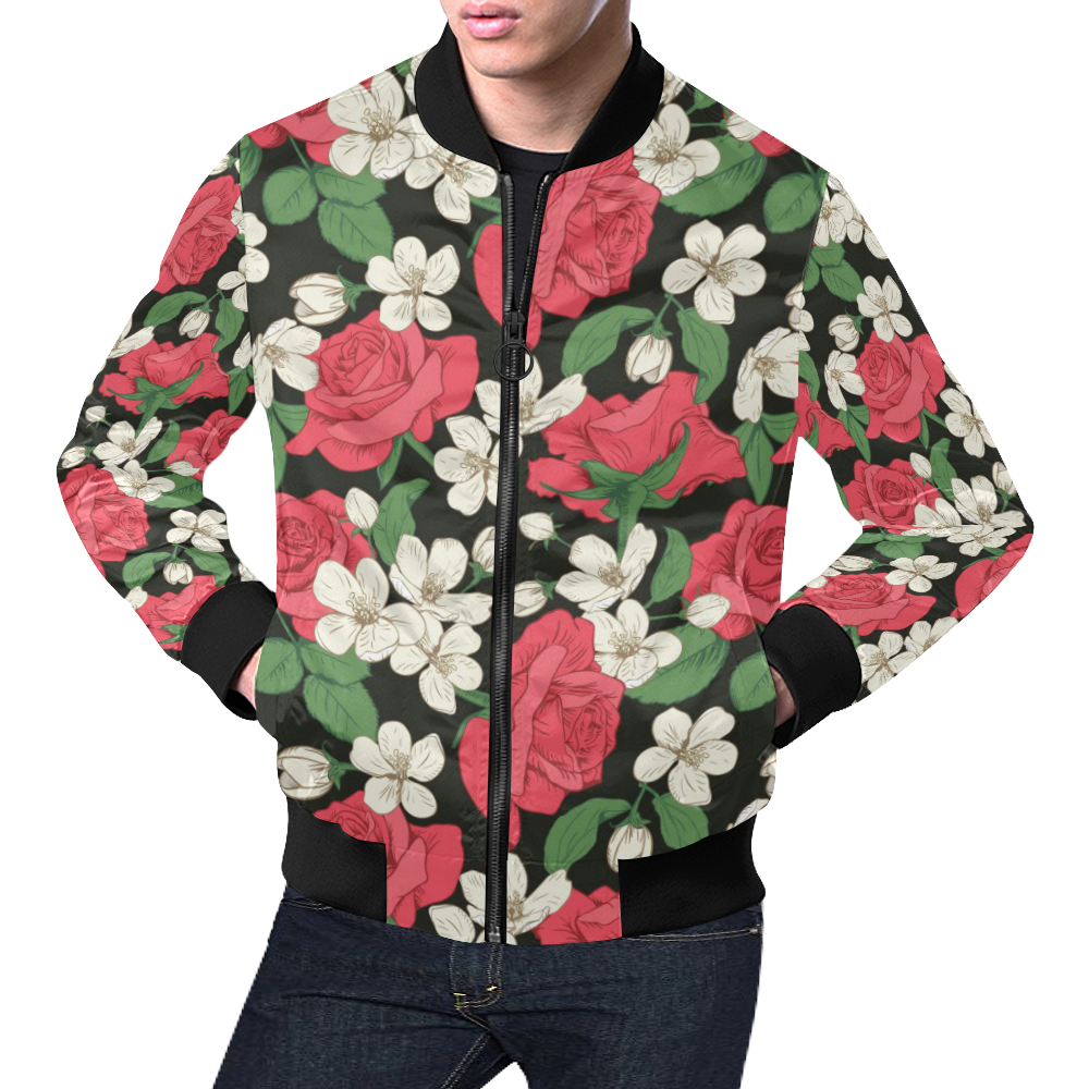 9fb75324e Pink, White and Black Floral All Over Print Bomber Jacket for Men/Large  Size (Model H19) | ID: D2570263